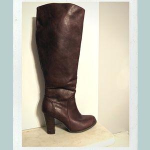 Brown Knee-High Boots with Heel